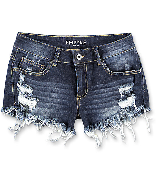 Empyre Jenna Dark Wash Destructed Shorts