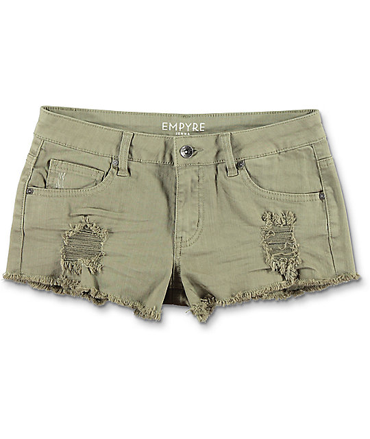Empyre Jenna Olive Distressed Shorts