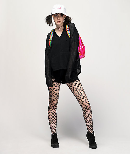 Empyre Jetty Black Mesh Hooded Poncho