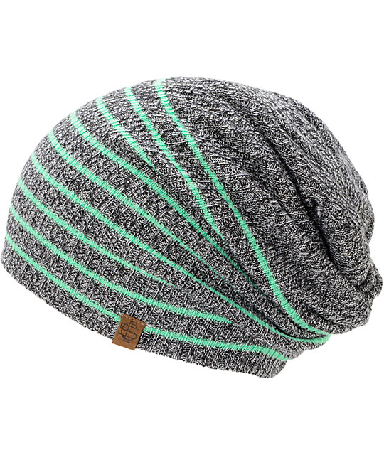 Empyre Juliet Grey Mint Stripe Beanie
