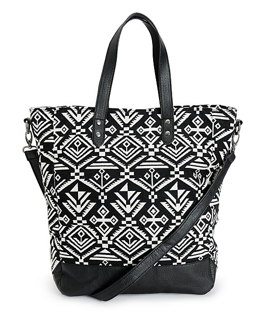 Empyre Karli Black & White Tribal Tote Bag