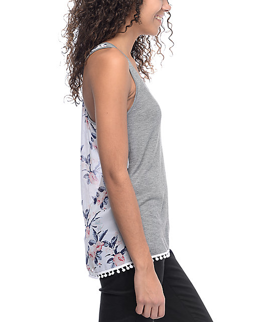 Empyre Karrin Floral Chiffon Charcoal Tank Top