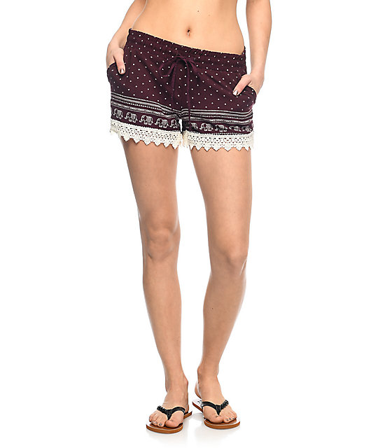 Empyre Kassa Burgundy Elephant Trim Shorts