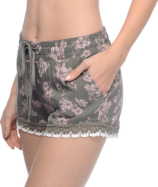 Empyre Kassa Olive Floral Crochet Trim Shorts
