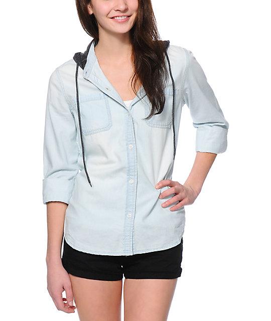 Empyre Kassie Bleached Denim Button Up Shirt
