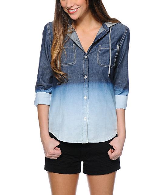 Empyre Kassie Dip Dye Denim Hooded Shirt