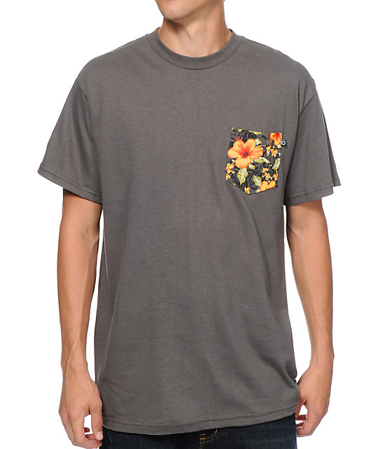 Empyre Kei Charcoal Hawaiian Print Pocket T-Shirt