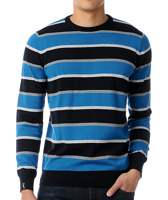 Empyre Kinked Blue Striped Crew Neck Sweater