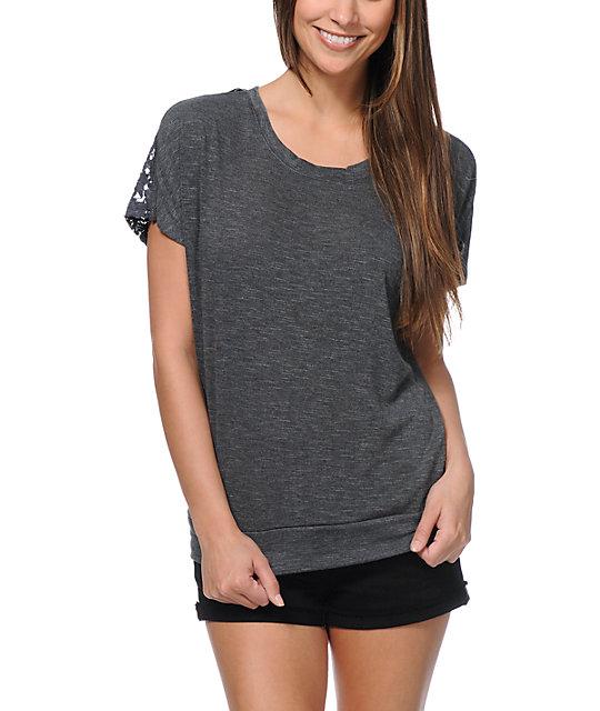 Empyre Lafayette Charcoal Crochet T-Shirt