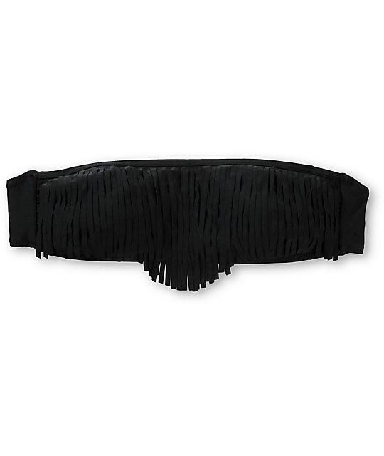Empyre Lanzarote Black Fringe Bandeau Bikini Top