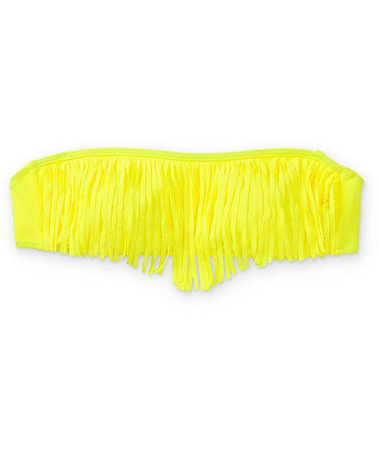 Empyre Lanzarote Neon Yellow Fringe Bandeau Bikini Top