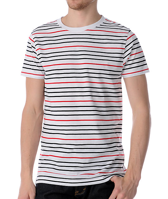 Empyre Larabee White Striped Knit T-Shirt