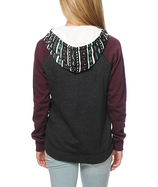 Empyre Larissa Charcoal & Blackberry Tribal Hoodie