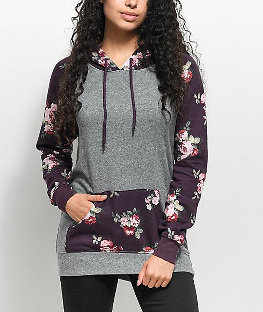 Empyre Larissa Grey & Burgundy Floral Hoodie