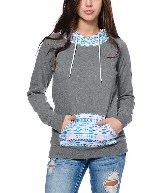 Empyre Larissa Grey & Multicolor Tribal Print Pullover Hoodie