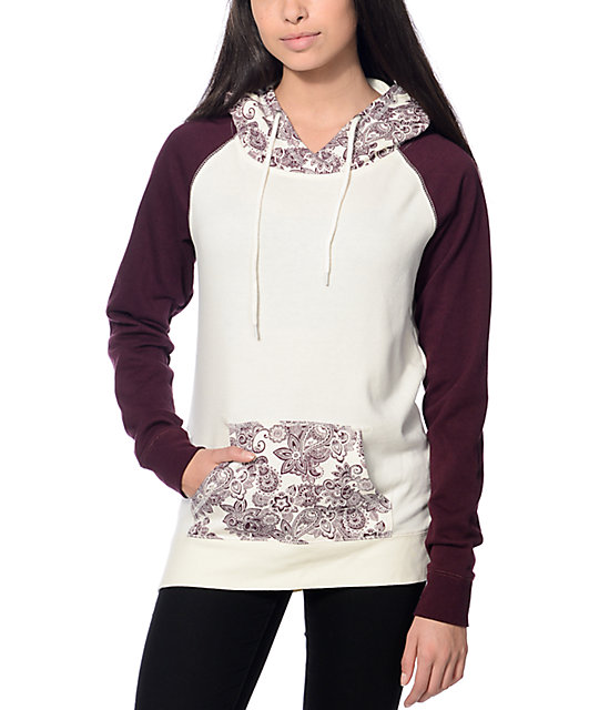 Empyre Larissa White and Burgundy Hoodie