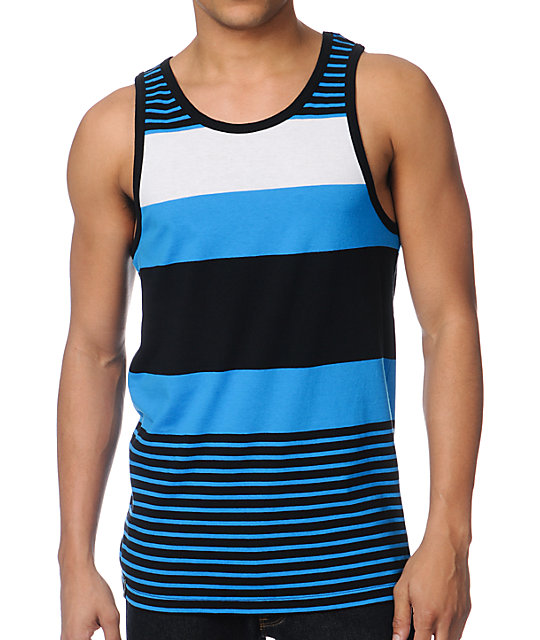 Empyre Latitude Blue, White & Black Stripe Tank Top