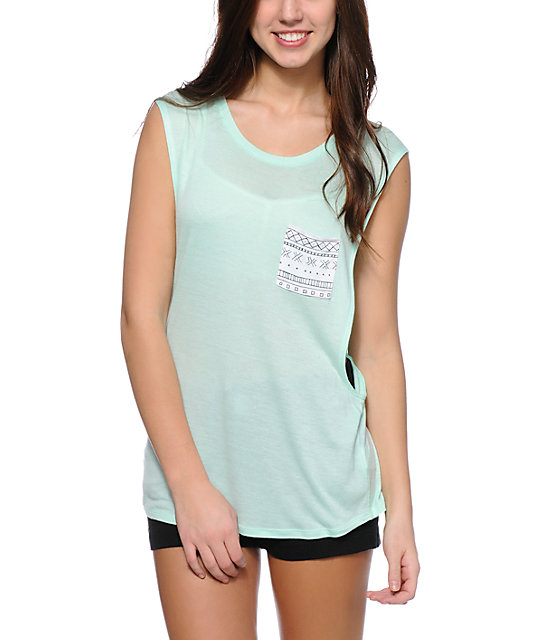 Empyre Lauryn Aztec Pocket Mint Muscle Tank Top