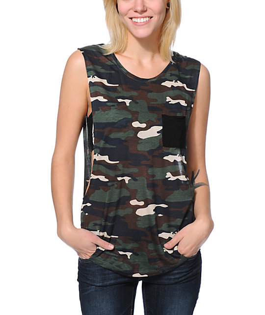 Empyre Lauryn Camo Print Rayon Muscle T-Shirt