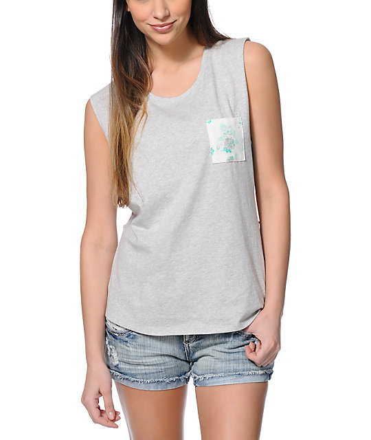 Empyre Lauryn Floral Pocket Grey Muscle Tank Top