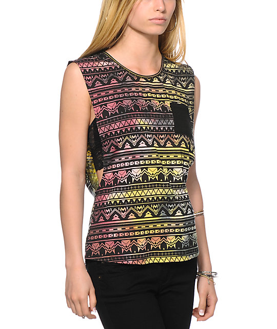 Empyre Lauryn Multicolor Tribal Muscle Tank Top