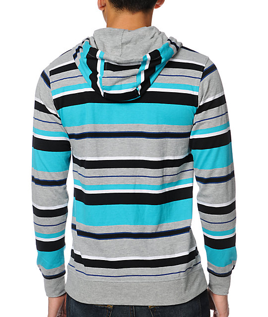 Empyre Leeway Turquoise Henley Pullover Hooded Shirt