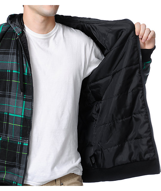 Empyre Leland Black & Green Plaid Taff Zip Up Hoodie