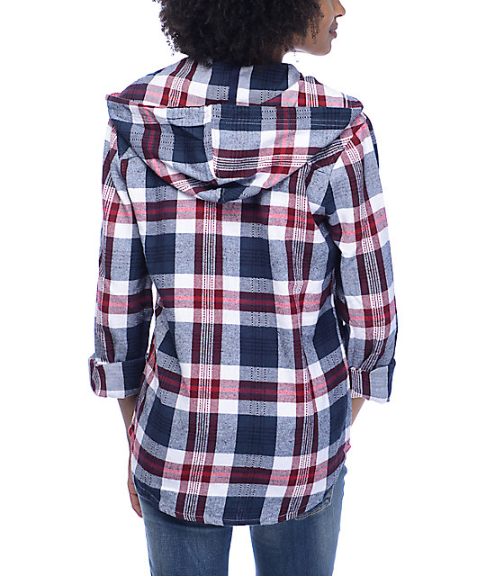 Empyre Lenox Blue, Red & White Hooded Flannel