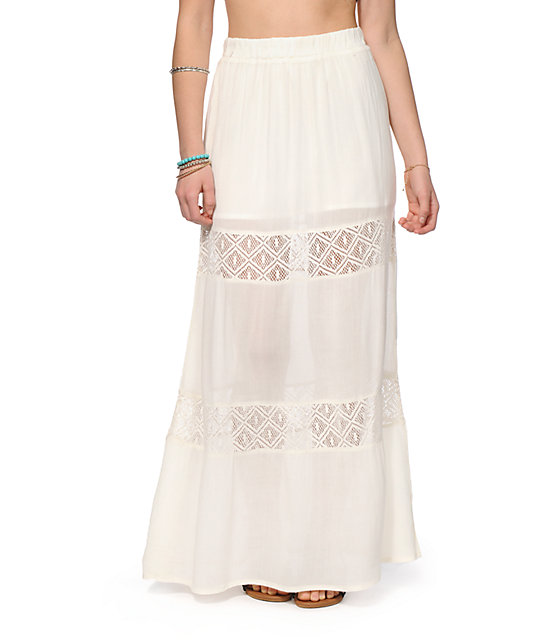 Lettie Cream Crochet Inset Maxi Skirt
