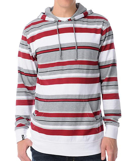 Empyre Loader Red & Grey Stripe Knit Hoodie