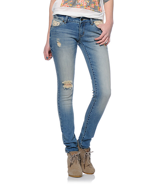 Empyre Logan Medium Wash Crochet Pockets Skinny Jeggings