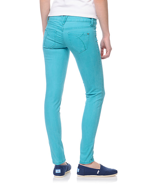 Empyre Logan Teal Sunfade Twill Skinny Jeggings