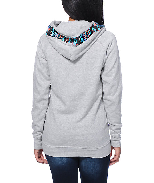 Empyre Long Beach Tribal Print Grey Pullover Hoodie