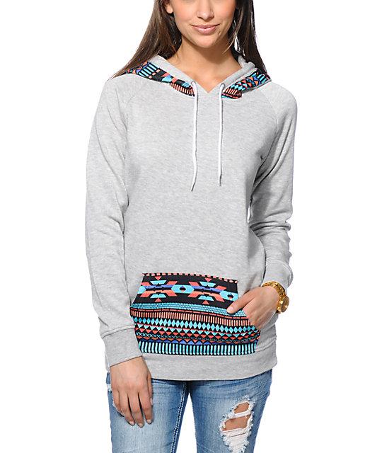Empyre Long Beach Tribal Print Grey Pullover Hoodie