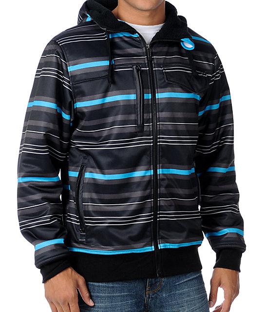 Empyre Losers Win Black & Blue Stripe Mens Tech Fleece Jacket