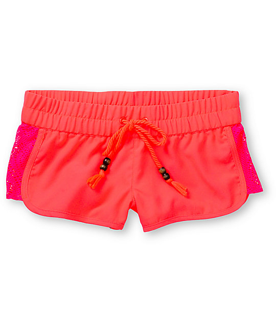 Empyre Lyria Crochet Inset Neon Pink Board Shorts