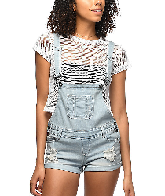 Empyre Madelyn Sunbleach Destructed Denim Overall Shorts