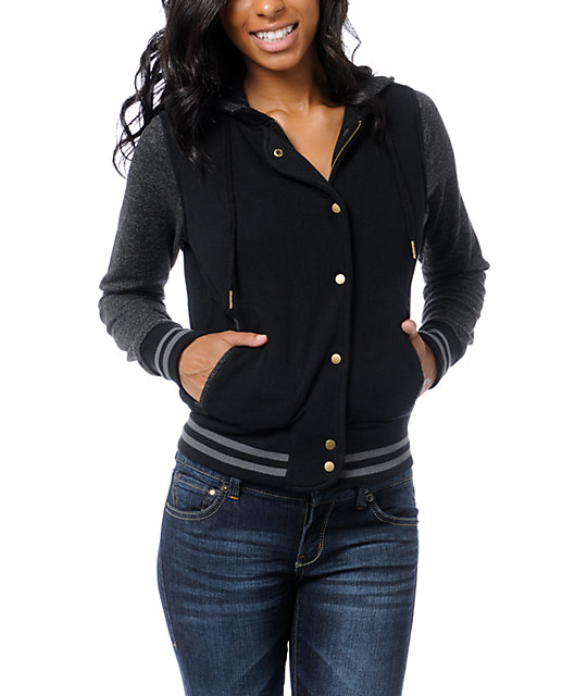 Empyre Madison Black & Speckle Varsity Zip Up Hoodie
