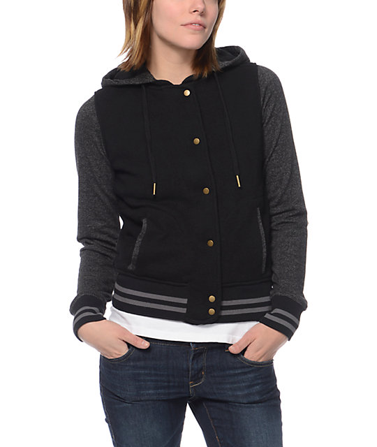 Empyre Madison Black Speckle Fleece Varsity Jacket