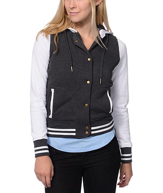 Empyre Madison Charcoal & White Fleece Varsity Jacket