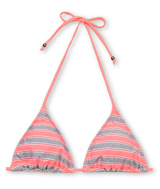 Empyre Madison Coral Striped Triangle Bikini Top