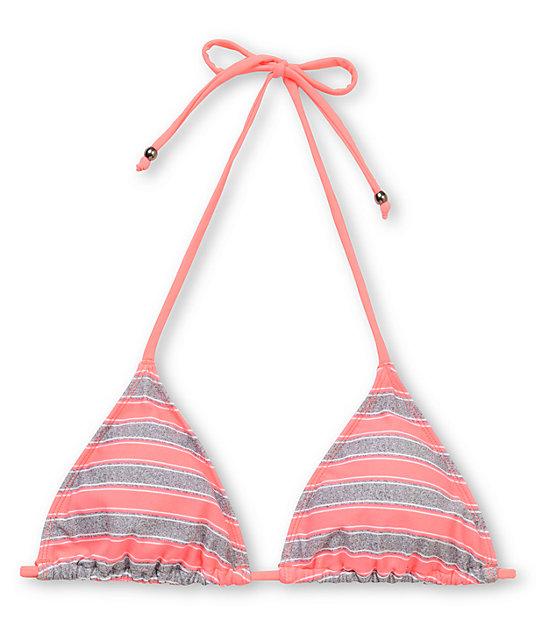 Empyre Madison Coral Striped Triangle Bikini Top