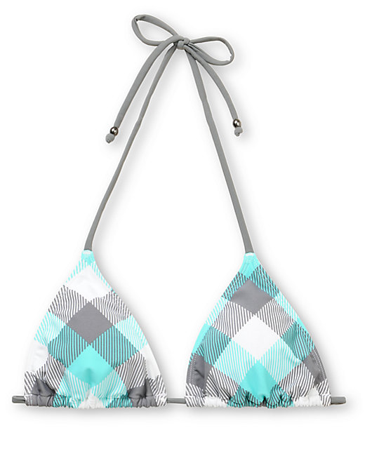 Empyre Madison Turquoise Buffalo Plaid Triangle Bikini Top