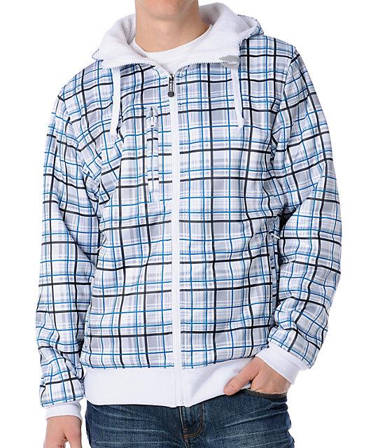 Empyre Malison White Plaid Sherpa Mens Zip Tech Fleece Jacket
