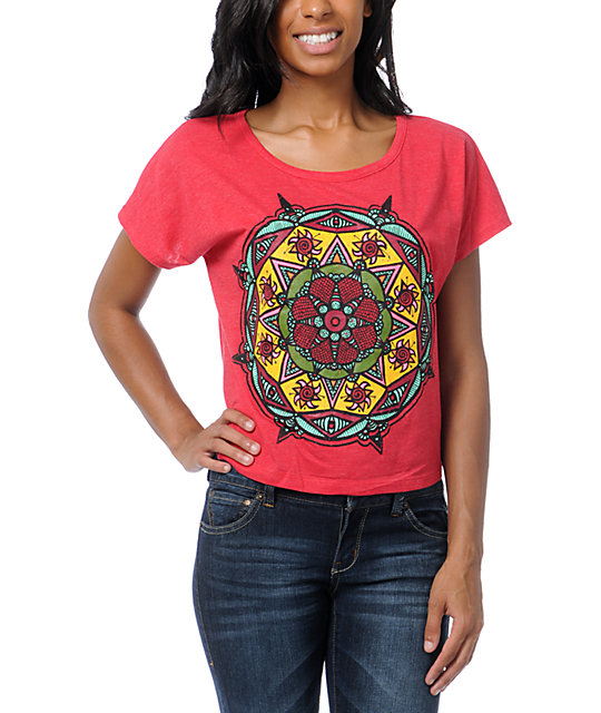Empyre Mandala Sun Heather Red Crop T-Shirt