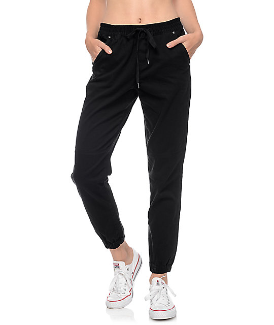Mattia Black Twill Seam Jogger Pants