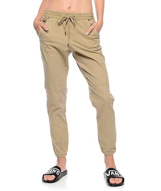 New Trillium Jane Khaki Twill Zipper Joggers