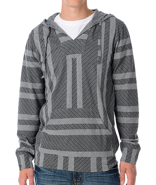 Empyre Mens Bandito Lightweight Grey Knit Pullover Hoodie