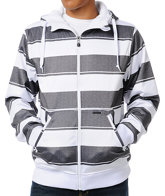 Empyre Mens Bristol White & Charcoal Striped Tech Fleece Jacket