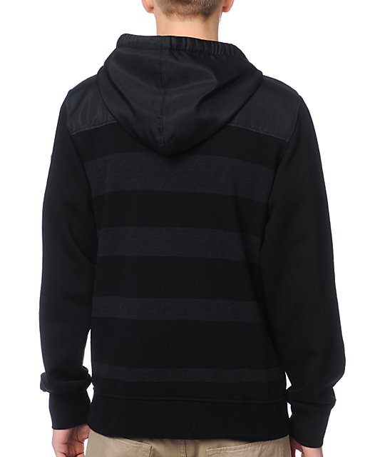 Empyre Mens Double Dutch Charcoal & Black Striped Pullover Hoodie